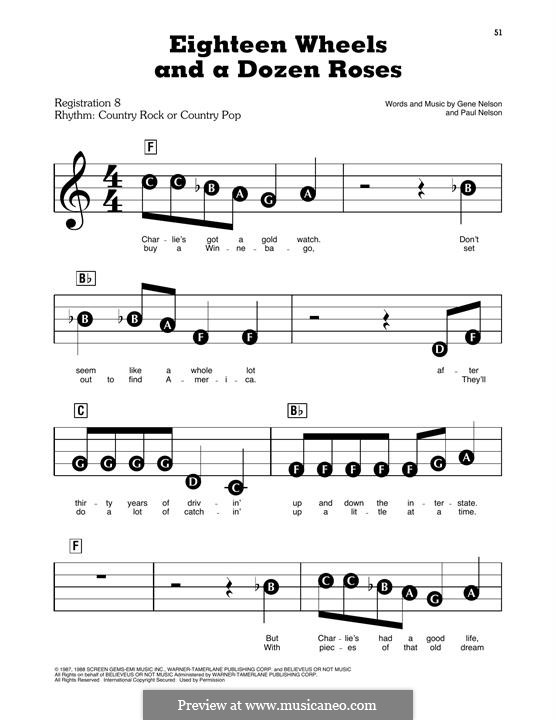 Eighteen Wheels and a Dozen Roses (Kathy Mattea): For easy piano by Gene Nelson, Paul Nelson