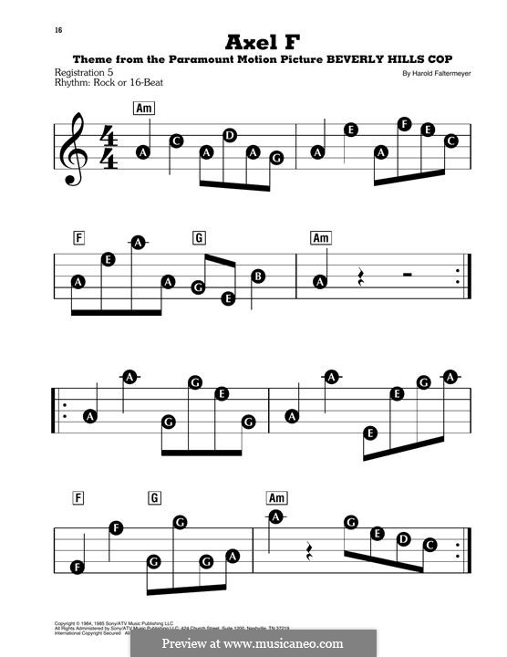 Axel F (from Beverley Hills Cop): For easy piano by Harold Faltermeyer