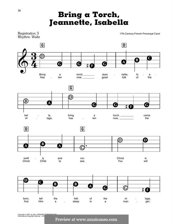 Bring a Torch, Jeannette Isabella: For easy piano by folklore