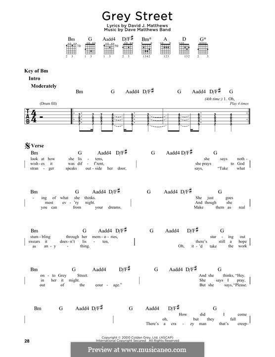 Grey Street (Dave Matthews Band): For guitar by David J. Matthews
