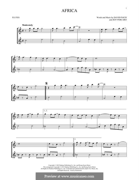 Africa (Toto): For flute by David Paich, Jeff Porcaro