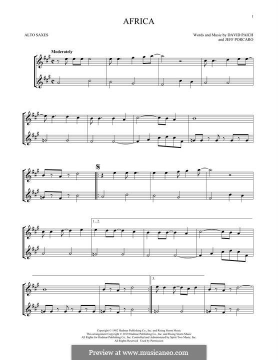 Africa (Toto): For alto saxophone by David Paich, Jeff Porcaro
