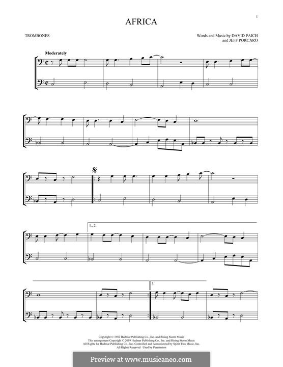 Africa (Toto): For trombone by David Paich, Jeff Porcaro
