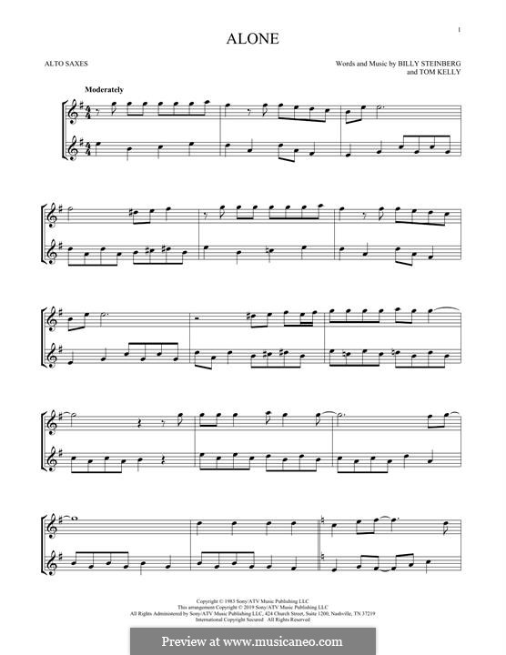 Alone: For two alto saxophones by Billy Steinberg, Tom Kelly