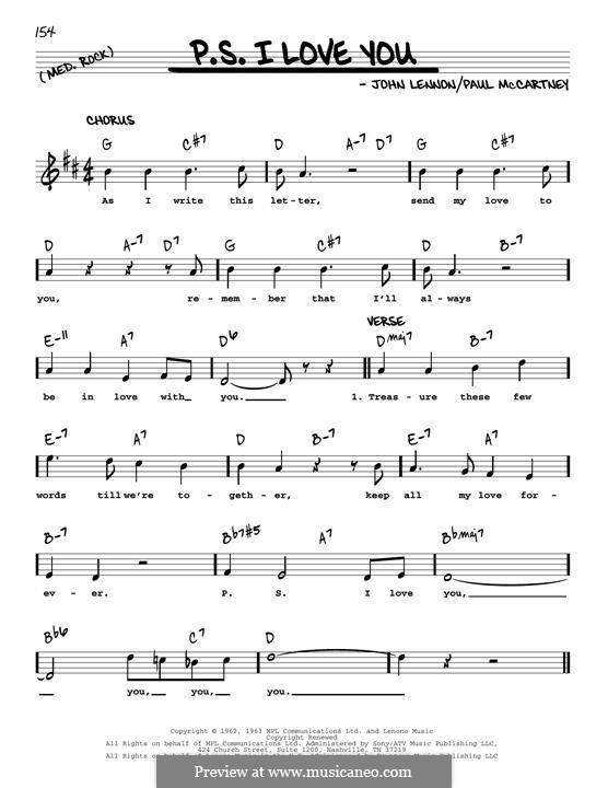 P.S. I Love You (The Beatles): Melody line (jazz version) by John Lennon, Paul McCartney
