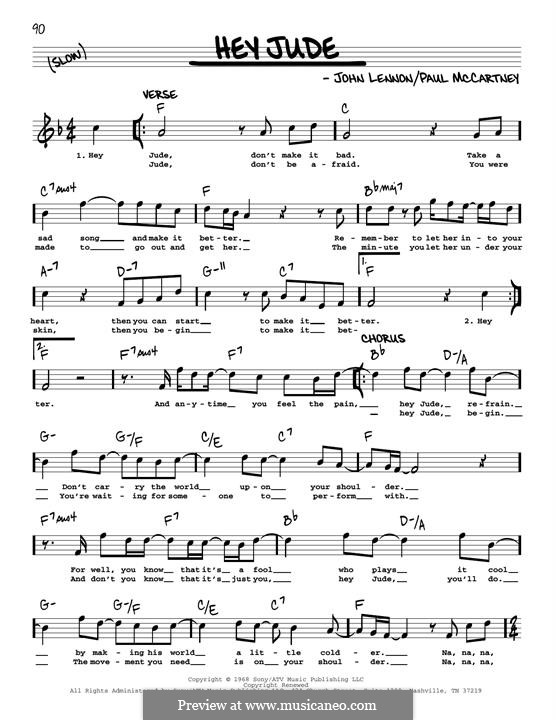 Hey Jude (The Beatles): Melody line (jazz version) by John Lennon, Paul McCartney