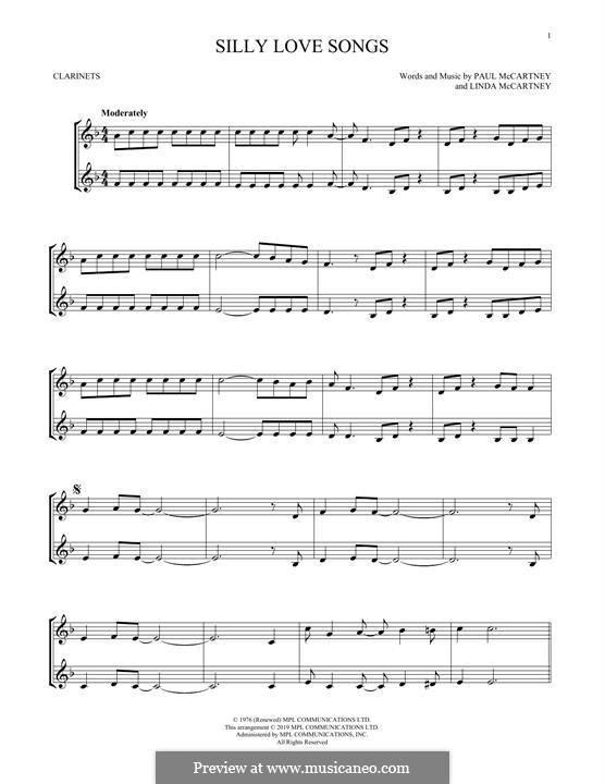 Silly Love Songs (Wings): For clarinet by Linda McCartney, Paul McCartney