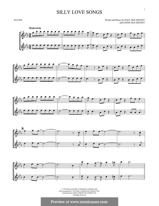 Silly Love Songs (Wings): For flute by Linda McCartney, Paul McCartney