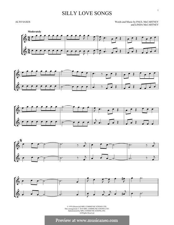 Silly Love Songs (Wings): For alto saxophone by Linda McCartney, Paul McCartney