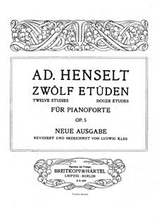 Douze Etudes de Salon, Op.5: Complete set by Adolf von Henselt