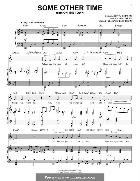 Some Other Time (from On The Town) : For voice and piano (jazz version) by Leonard Bernstein