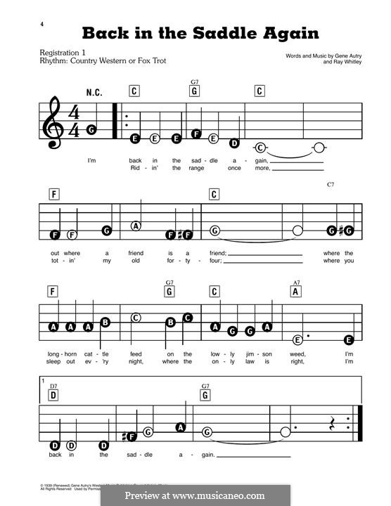 Back in the Saddle Again: For easy piano by Ray Whitley