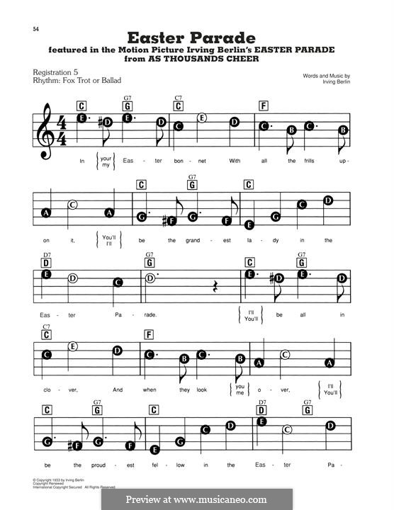 Easter Parade: For easy piano by Irving Berlin