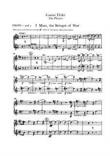 Complete Suite: Oboes I-II part by Gustav Holst