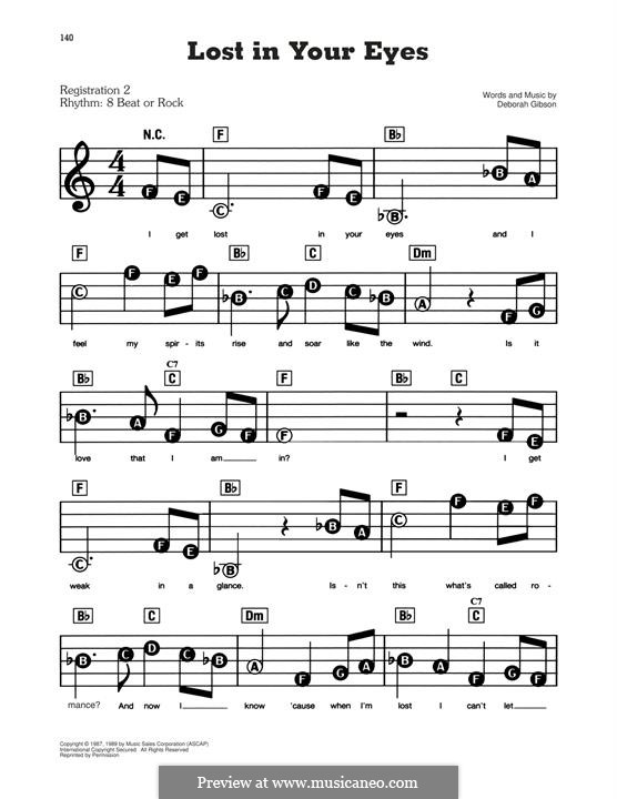 Lost in Your Eyes: For easy piano by Debbie Gibson