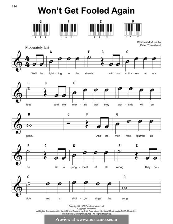 Won't Get Fooled Again (The Who): For piano by Peter Townshend