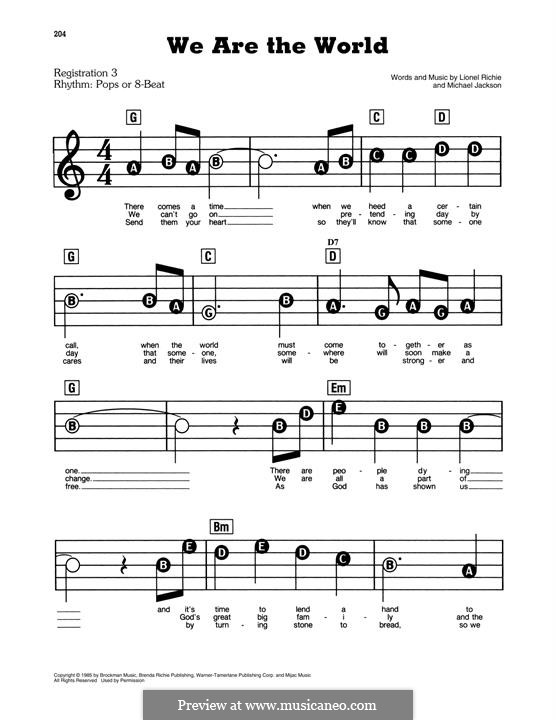 We Are the World (USA for Africa): For easy piano by Lionel Richie, Michael Jackson