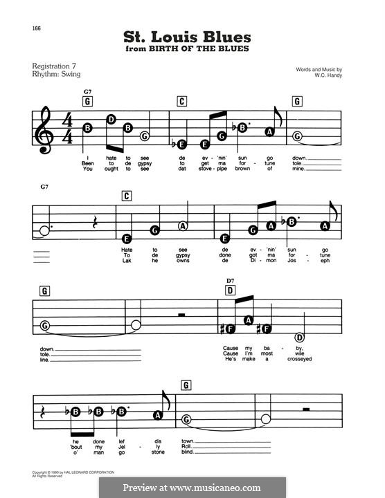 St. Louis Blues: For easy piano by William Christopher Handy