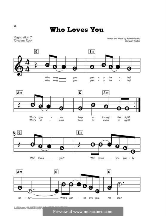Who Loves You (Frankie Valli & The Four Seasons): For easy piano by Bob Gaudio, Judy Parker