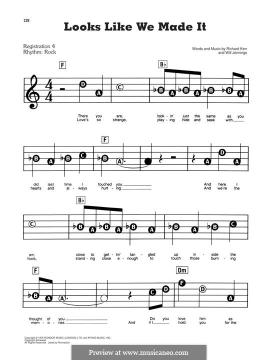 Looks Like We Made It: For easy piano by Richard Kerr, Will Jennings