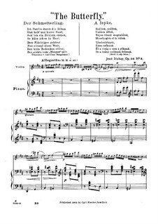 The Flower's Tale for Violin and Piano, Op.30: No.3 Butterfly – score by Jenö Hubay