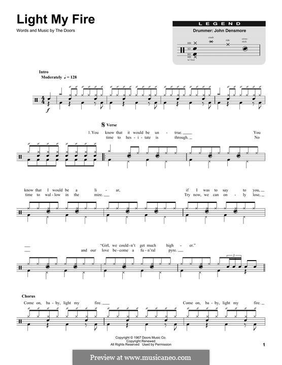 Light My Fire: Drum set by Jim Morrison, John Densmore, Ray Manzarek, Robert Krieger, The Doors