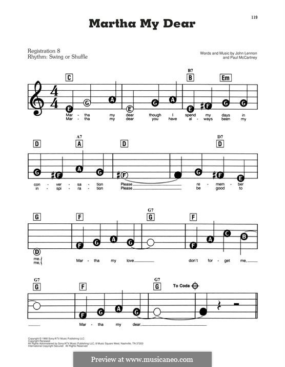Martha My Dear (The Beatles): For easy piano by John Lennon, Paul McCartney
