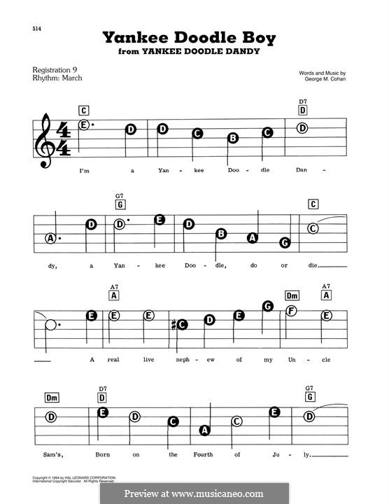 Yankee Doodle Boy: For easy piano by George Michael Cohan