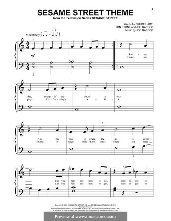 Sesame Street Theme: For piano by Joe Raposo