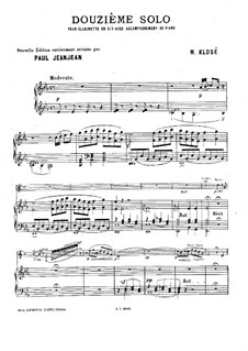 Solo No.12 for Clarinet and Piano: Solo No.12 for Clarinet and Piano by Hyacinthe Eléonore Klosé