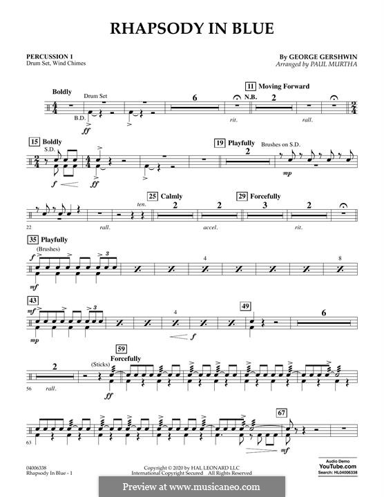 Rhapsody in Blue: Percussion 1 part by George Gershwin