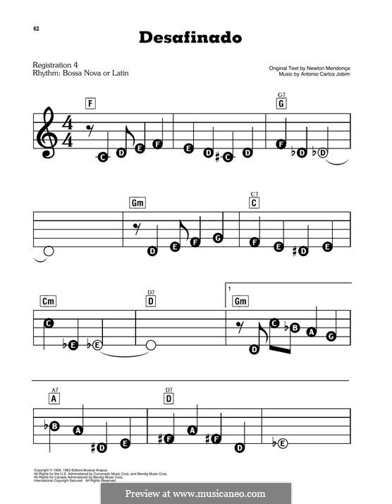 Desafinado (Slightly Out of Tune): For easy piano by Antonio Carlos Jobim