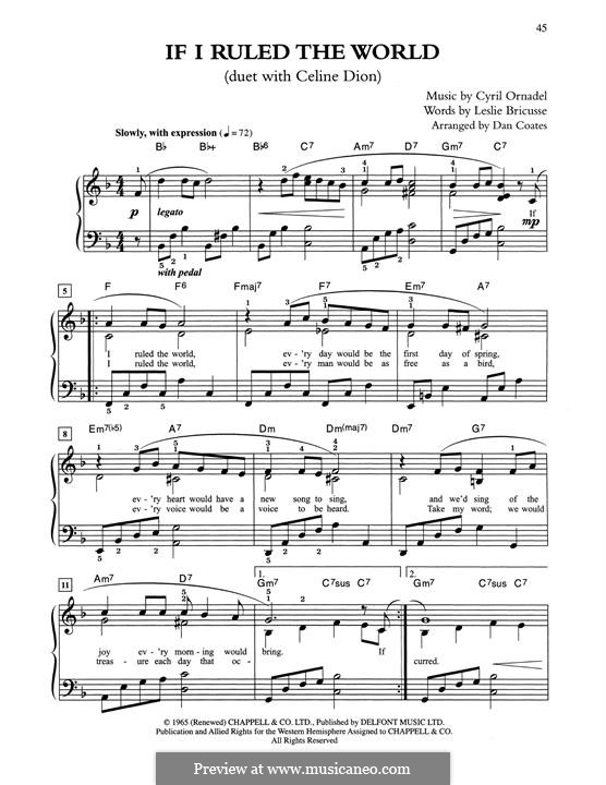 If I Ruled the World: For easy piano by Cyril Ornadel