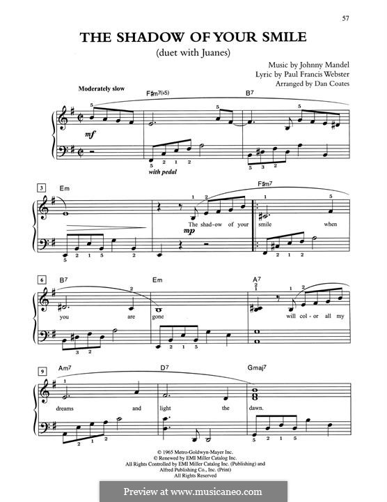 The Shadow of Your Smile (Tony Bennett): For easy piano by Johnny Mandel