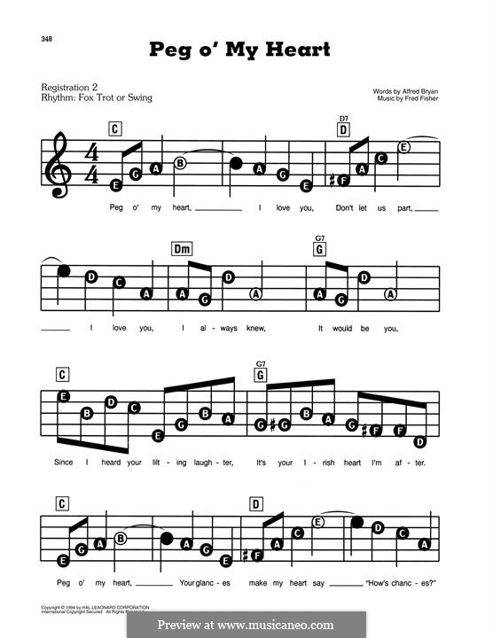 Peg O' My Heart: For easy piano by Fred Fisher