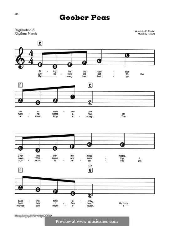 Goober Peas: For easy piano by P. Nutt