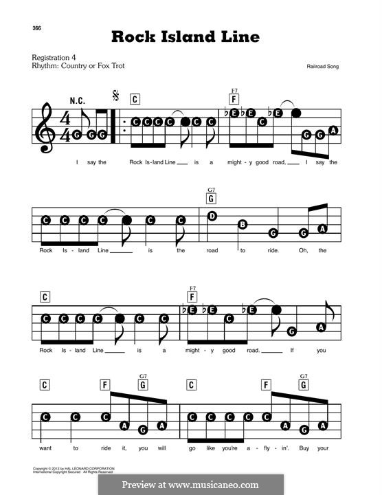 Rock Island Line: For easy piano by folklore