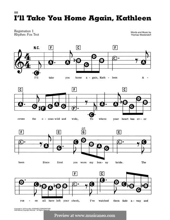I'll Take You Home Again, Kathleen: For easy piano by Thomas Payne Westendorf