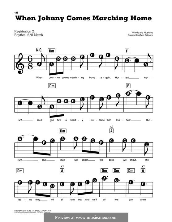 When Johnny Comes Marching Home: For easy piano by Patrick Sarsfield Gilmore