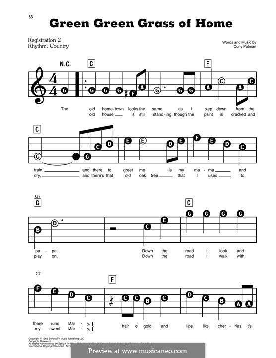 Green Green Grass of Home: For easy piano by Curly Putman