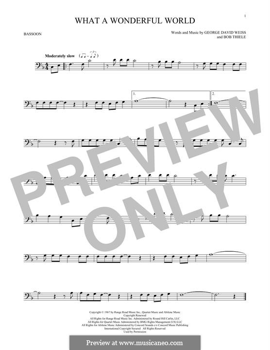 What a Wonderful World: For bassoon by Bob Thiele, George David Weiss