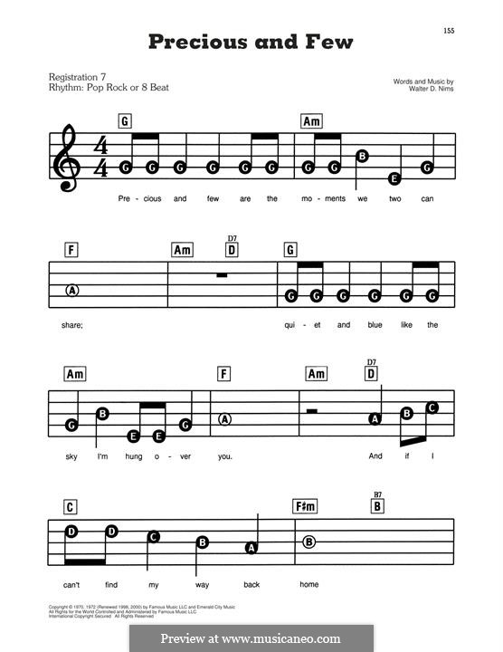 Precious and Few (Climax): For easy piano by Walter D. Nims
