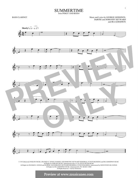 Summertime: Bass clarinet by George Gershwin