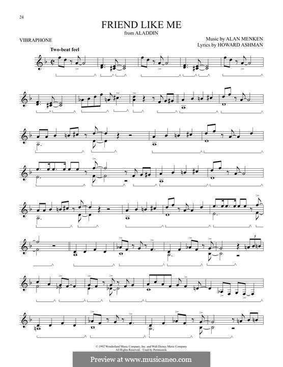 Friend Like Me (from Aladdin): For vibraphone by Alan Menken