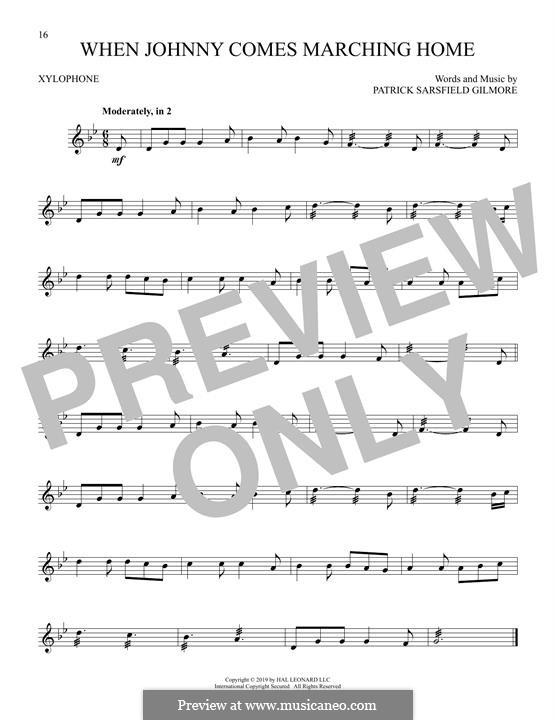 When Johnny Comes Marching Home: For xylophone by Patrick Sarsfield Gilmore