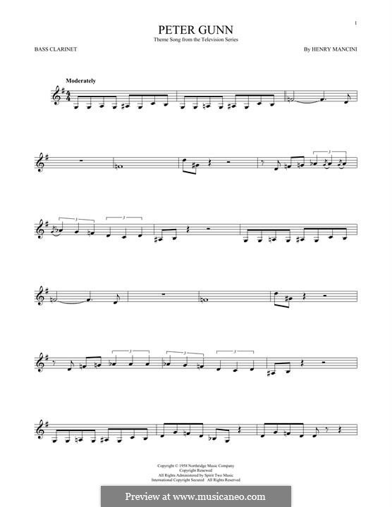 Vocal-instrumental version: Bass clarinet by Henry Mancini