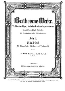 Trio for Violin, Cello and Piano No.5 'Ghost', Op.70 No.1: Full score by Ludwig van Beethoven