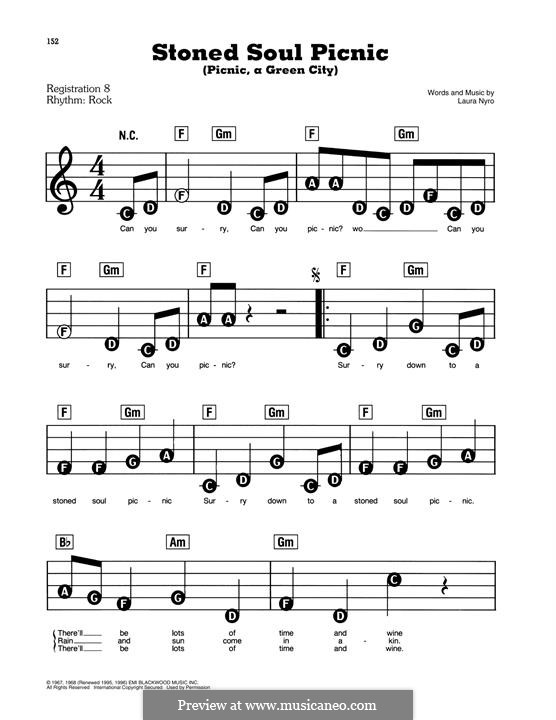 Stoned Soul Picnic (Picnic, a Green City): For easy piano by Laura Nyro