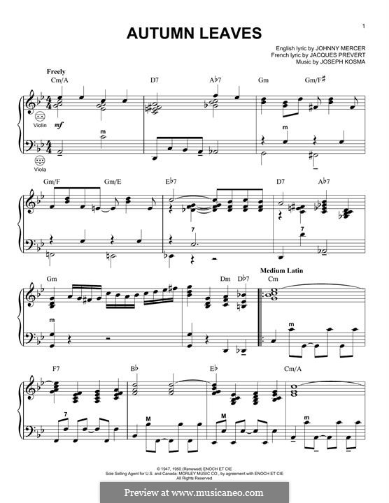 Autumn Leaves: For accordion by Joseph Kosma
