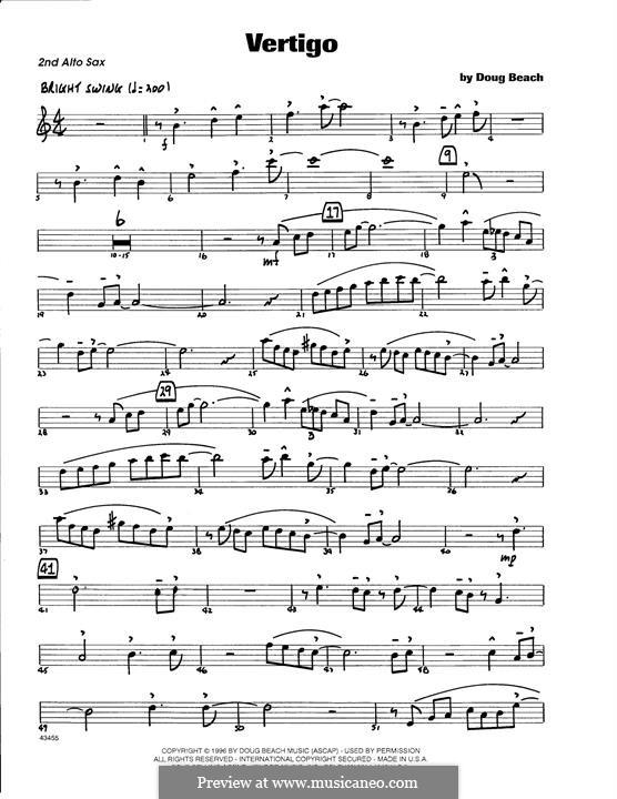 Vertigo: 2nd Eb Alto Saxophone part by Doug Beach